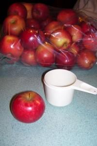 1 med apple = 1 C. chopped