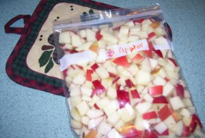 freeze chopped apples in quart sized freezer bags